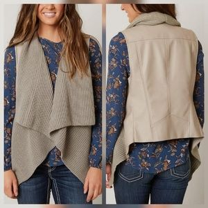 Be by Blanc Noir S Taupe Faux Leather Vest